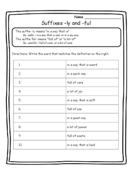 Language Arts Skill Practice Suffixes -ly and -ful Activity Suffixes Worksheet