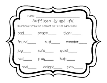 Suffixes -ly and -ful practice