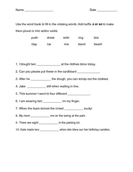 Suffixes s and es worksheets