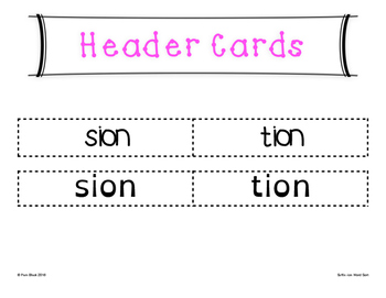 Suffixes -sion and -tion Word Sort {Differentiated} + Seat work