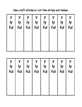 Suffixes -y, -ly, -ful and -tion, -ture