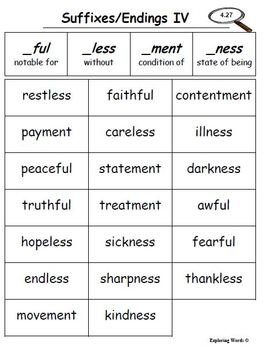 Suffixes/Endings Bundle Word Sort (Level 4) - Exploring Words