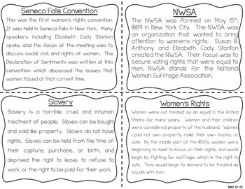 Suffrage and Abolition Reading Fluency & Comprehension Task Cards