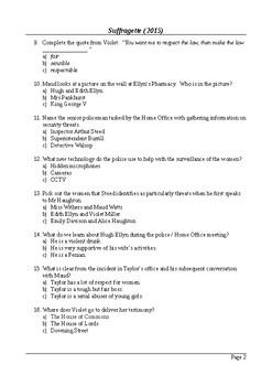 Suffragette - MCQ / Final Assessment / Viewing Questions