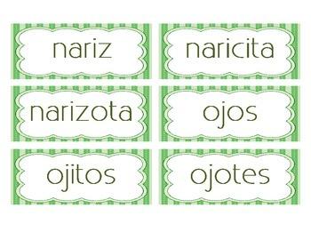 Sufijos diminutivos y aumentativos for the Bilingual/Spanish classroom