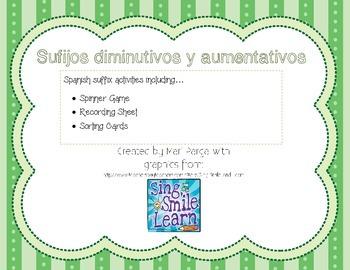 Sufijos diminutivos y aumentativos for the Bilingual/Spani