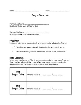 Sugar Cube Lab: Dissolving Solids in Hot and Cold Water