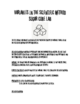 Sugar Cube Lab-Variables in the Scientific Method