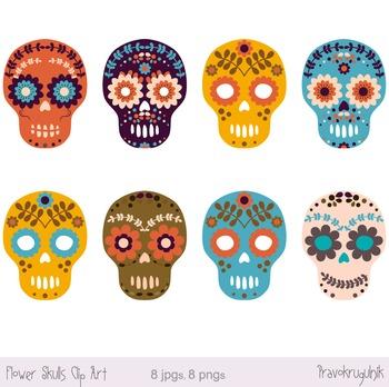 Sugar Skull Clipart, Day of the Dead Clip Art, Halloween Flower Skulls