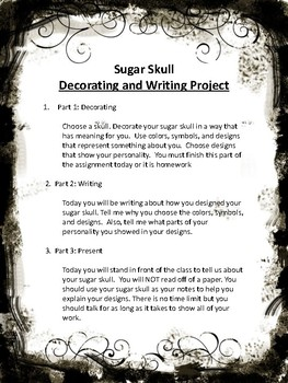 Sugar Skull (Dia de los Muertos) Writing Project
