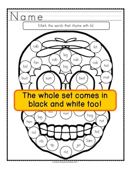 Sugar Skull Do-A-Dot Printables with CVC Words and Rhyming
