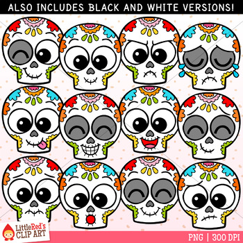 Sugar Skull Faces Day of the Dead Clip Art