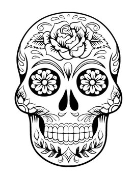 Sugar Skull Coloring Pages Download - Coloring Home | 350x263