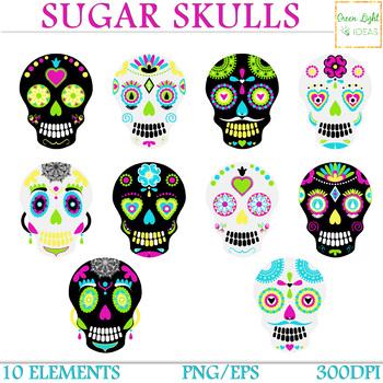 Sugar Skulls Clipart, Day Of The Dead Clipart, Halloween Clipart, Skull Graphics