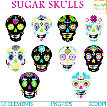 sugar skulls clipart day of the dead clipart halloween clipart rh teacherspayteachers com skull clipart collection skull clip art free images