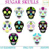 Sugar Skulls Clipart, Day Of The Dead Clipart, Halloween C
