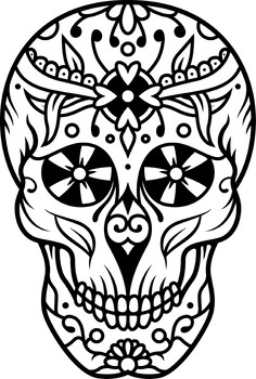 Sugar Skulls Coloring Pages- Halloween Theme Day of The ...