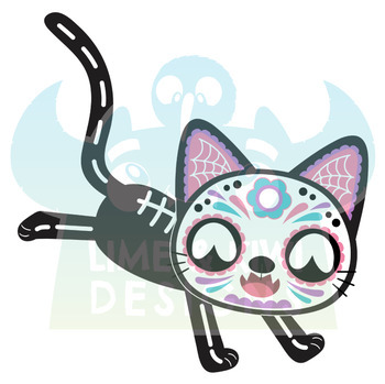 Sugar Skulls Day of the Dead Cats Clipart, Instant Download Vector Art