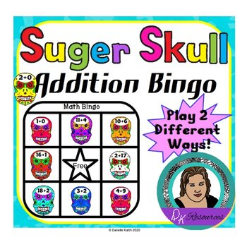 Sugar Skulls - Day of the Dead Themed Addition Math Bingo Set