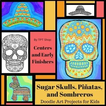 Drawings of sugar skull, sombrero, and pinata