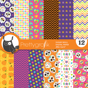 Sugar Skulls papers, commercial use, scrapbook papers, patterns - PS887