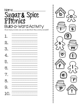 Sugar & Spice Phonics Build-a-Word Activity