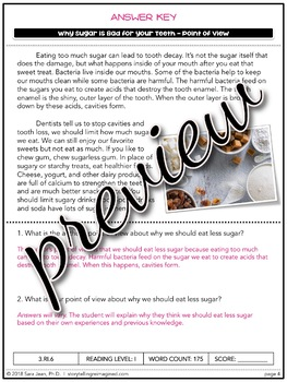 Sugar & Your Teeth Reading Comprehension Passage & Questions Nonfiction Text