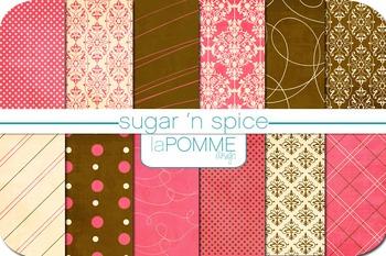 Sugar 'n Spice Pink & Brown Patterned Digital Paper Pack