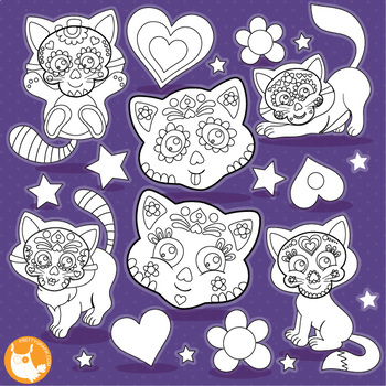 Sugar skull cat stamps,  commercial use, vector graphics, images  - DS1113