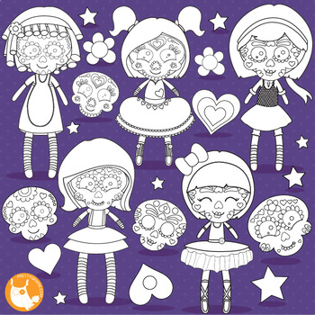 Sugar skull doll stamps,  commercial use, vector graphics, images  - DS1112