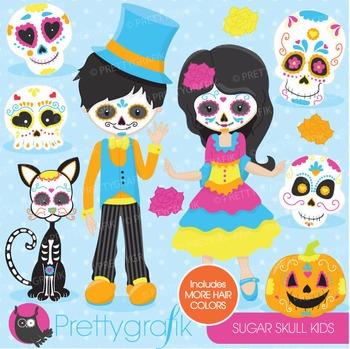 Sugar skull kids clipart commercial use, vector graphics, digital - CL689