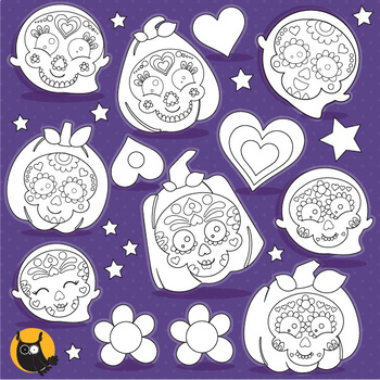 Sugar skull pumpkins stamps,  commercial use, vector graphics, images  - DS1104