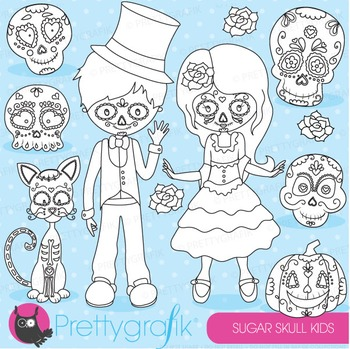 Sugar skull stamps commercial use, vector graphics, images - DS689