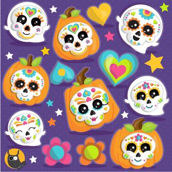 Sugar skulls clipart commercial use, vector graphics  - CL1104