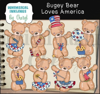 Sugey Bear Loves America Clipart Collection