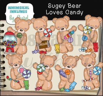 Sugey Bear Loves Candy Clipart Collection