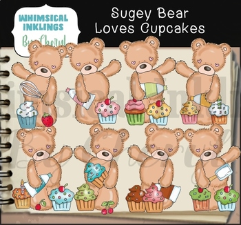 Sugey Bear Loves Cupcakes Clipart Collection