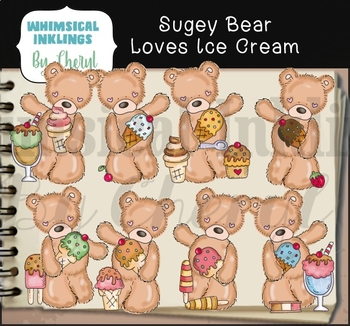 Sugey Bear Loves Ice Cream Clipart Collection