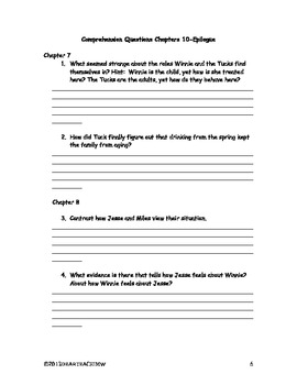 Suggested Journal Entries & Comprehension Questions for Tuck Everlasting