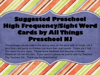 Suggested Preschool High Frequency Sight Words Cards