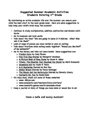 Suggested Summer Activities for Students Entering 4th Grade