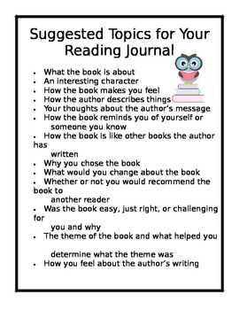 Suggested Topics for Your Reader's Response Journal