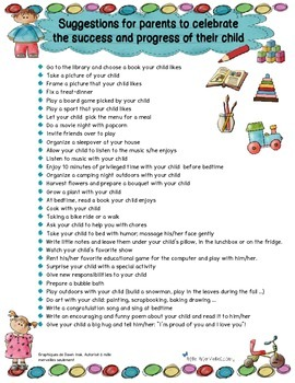 Suggestions for parents to celebrate their child's progress