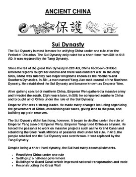 Sui Dynasty in ancient China Article and Assignment