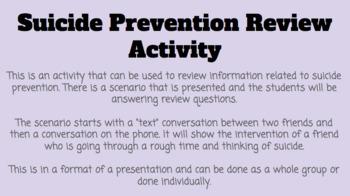 Suicide Prevention Review Activity