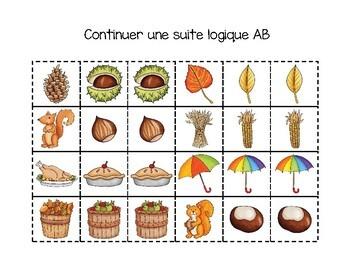 Suites logiques (régularités)  automne