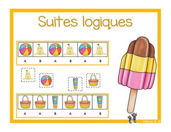 Suites logiques  (régularités) l'été  (Summer patterns)