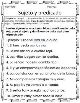Sujeto y predicado by M E Creative Store | Teachers Pay Teachers