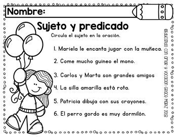 Sujeto y predicado (Subject & Predicate) SPANISH | TpT