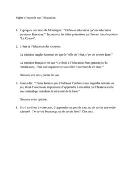 Sujets d'exposés (Composition topics in French)
